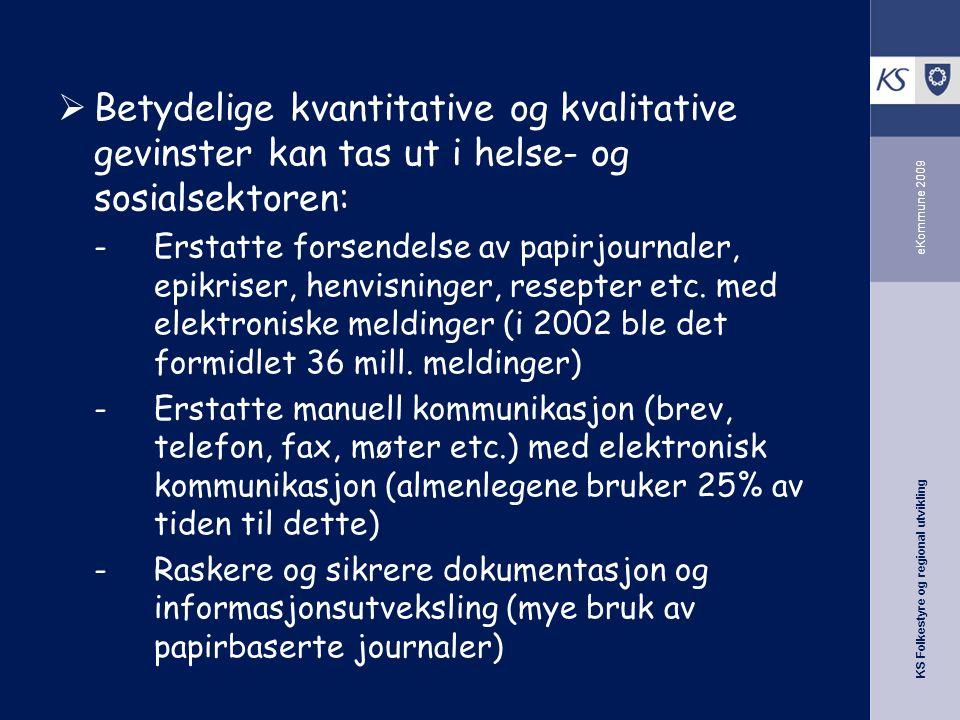 KS Folkestyre og regional utvikling eKommune 2009  Betydelige kvantitative og kvalitative gevinster kan tas ut i helse- og sosialsektoren: -Erstatte forsendelse av papirjournaler, epikriser, henvisninger, resepter etc.