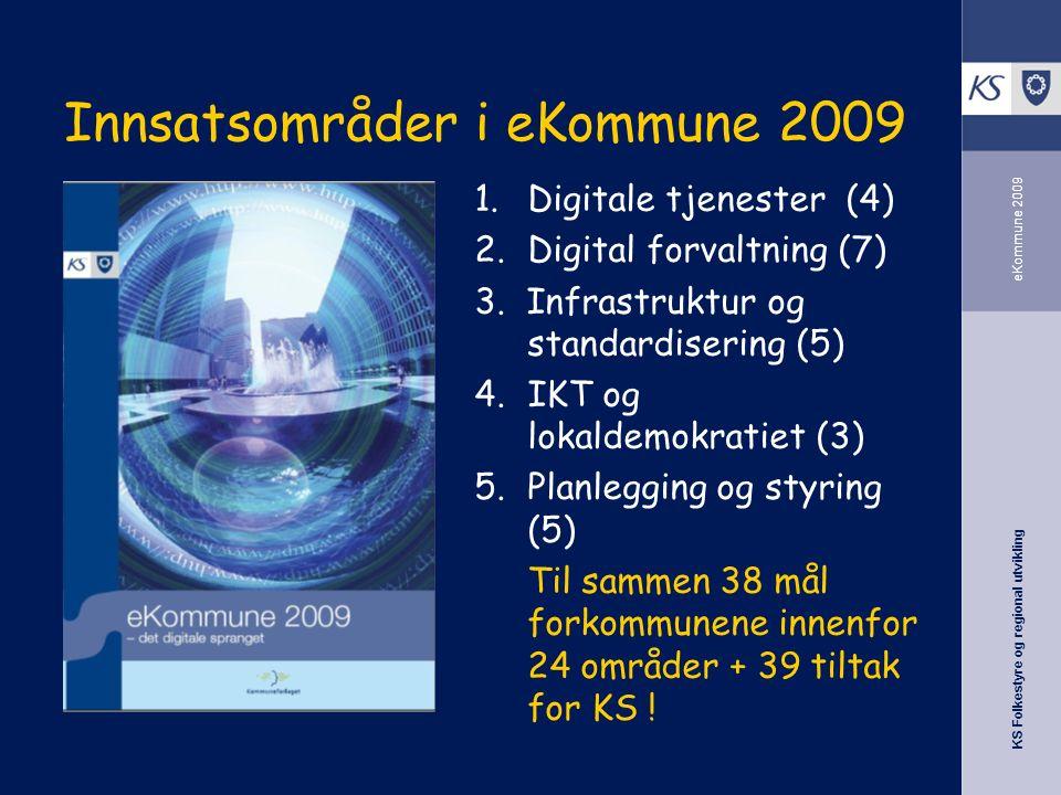 KS Folkestyre og regional utvikling eKommune 2009 Innsatsområder i eKommune 2009 1.Digitale tjenester (4) 2.Digital forvaltning (7) 3.