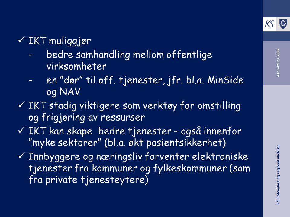 KS Folkestyre og regional utvikling eKommune 2009 IKT muliggjør -bedre samhandling mellom offentlige virksomheter -en dør til off.