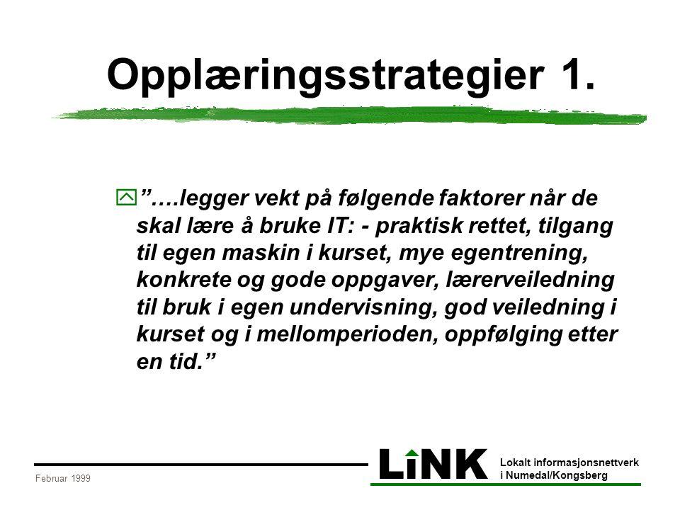 """LiNK Lokalt informasjonsnettverk i Numedal/Kongsberg Februar 1999 Opplæringsstrategier 1.  """"….legger vekt på følgende faktorer når de skal lære å bru"""
