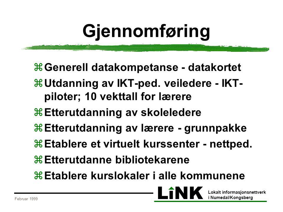 LiNK Lokalt informasjonsnettverk i Numedal/Kongsberg Februar 1999 Gjennomføring  Generell datakompetanse - datakortet  Utdanning av IKT-ped. veilede