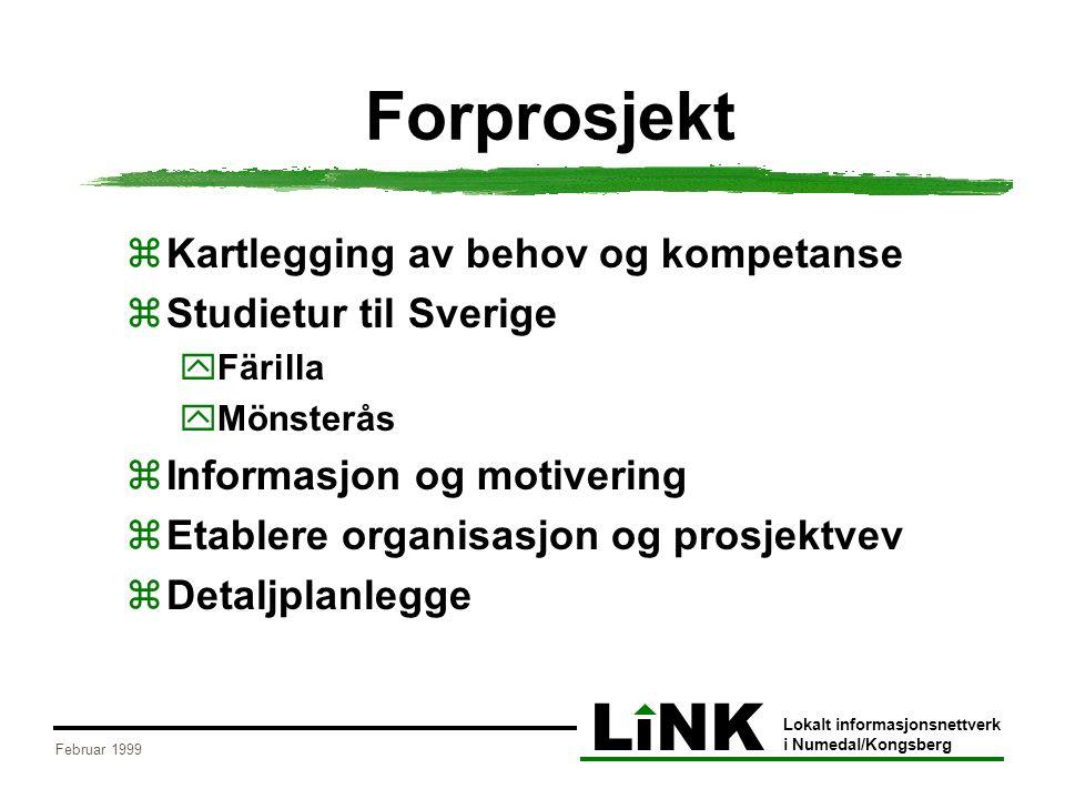 LiNK Lokalt informasjonsnettverk i Numedal/Kongsberg Februar 1999 Forprosjekt  Kartlegging av behov og kompetanse  Studietur til Sverige  Färilla 