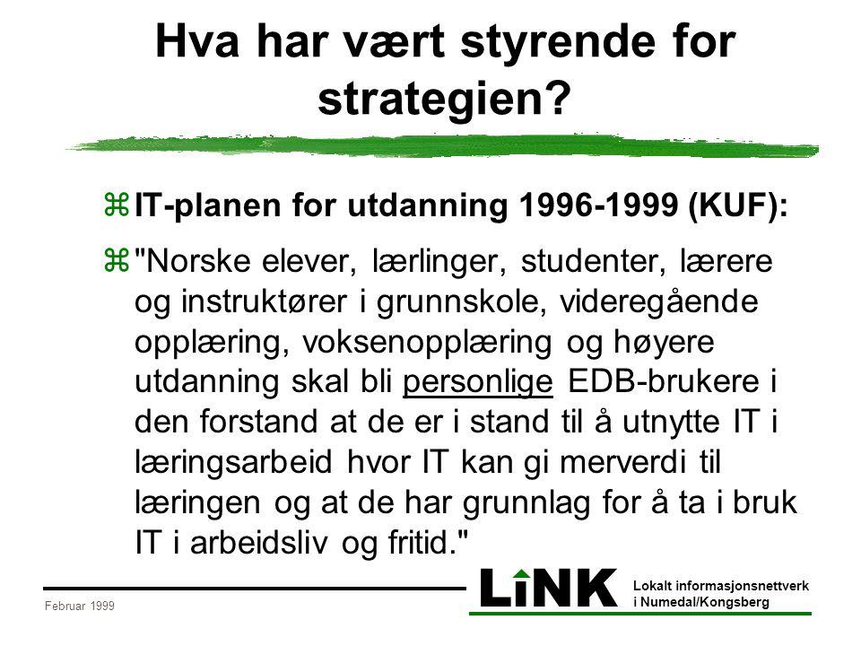 LiNK Lokalt informasjonsnettverk i Numedal/Kongsberg Februar 1999 Hva har vært styrende for strategien?  IT-planen for utdanning 1996-1999 (KUF): 