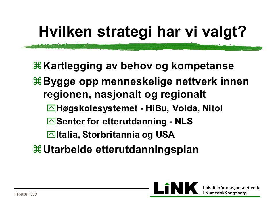 LiNK Lokalt informasjonsnettverk i Numedal/Kongsberg Februar 1999 Hvilken strategi har vi valgt?  Kartlegging av behov og kompetanse  Bygge opp menn