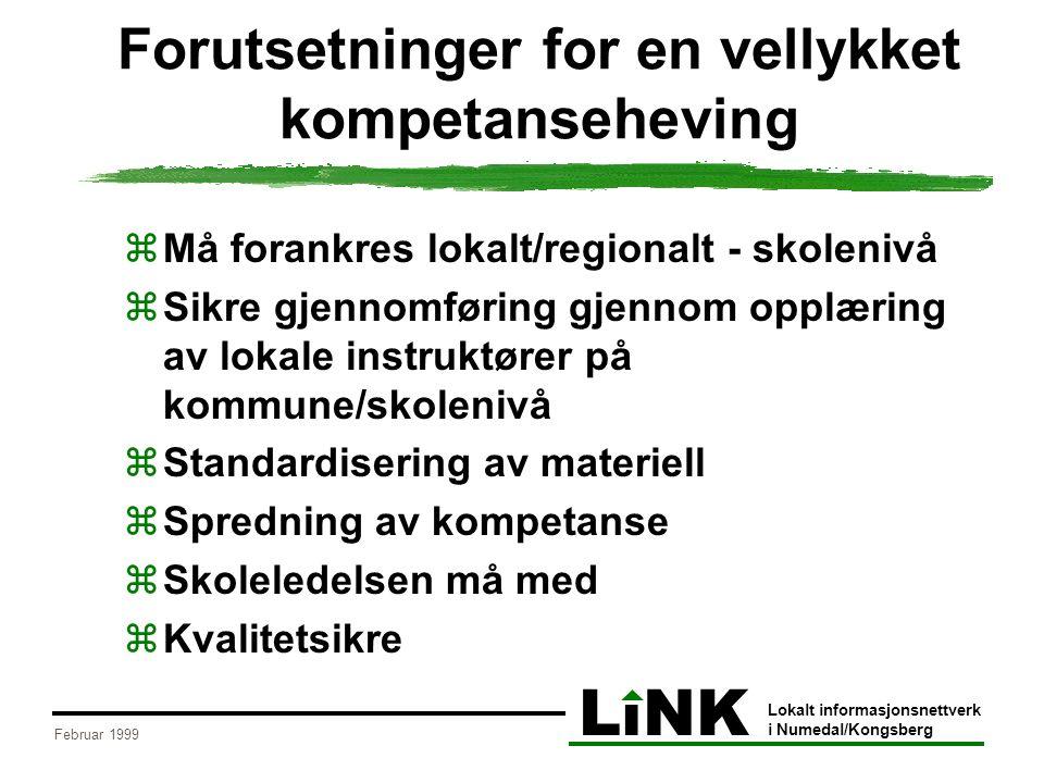 LiNK Lokalt informasjonsnettverk i Numedal/Kongsberg Februar 1999 Forutsetninger for en vellykket kompetanseheving  Må forankres lokalt/regionalt - s