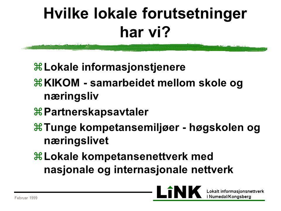 LiNK Lokalt informasjonsnettverk i Numedal/Kongsberg Februar 1999 Hvilke lokale forutsetninger har vi?  Lokale informasjonstjenere  KIKOM - samarbei