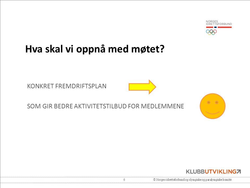 6© Norges idrettsforbund og olympiske og paralympiske komité Hva skal vi oppnå med møtet? KONKRET FREMDRIFTSPLAN SOM GIR BEDRE AKTIVITETSTILBUD FOR ME