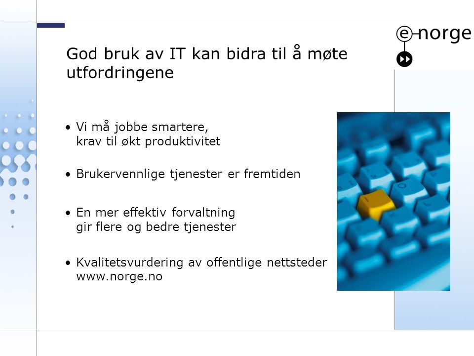 3 Vi må jobbe smartere, krav til økt produktivitet Brukervennlige tjenester er fremtiden En mer effektiv forvaltning gir flere og bedre tjenester Kval