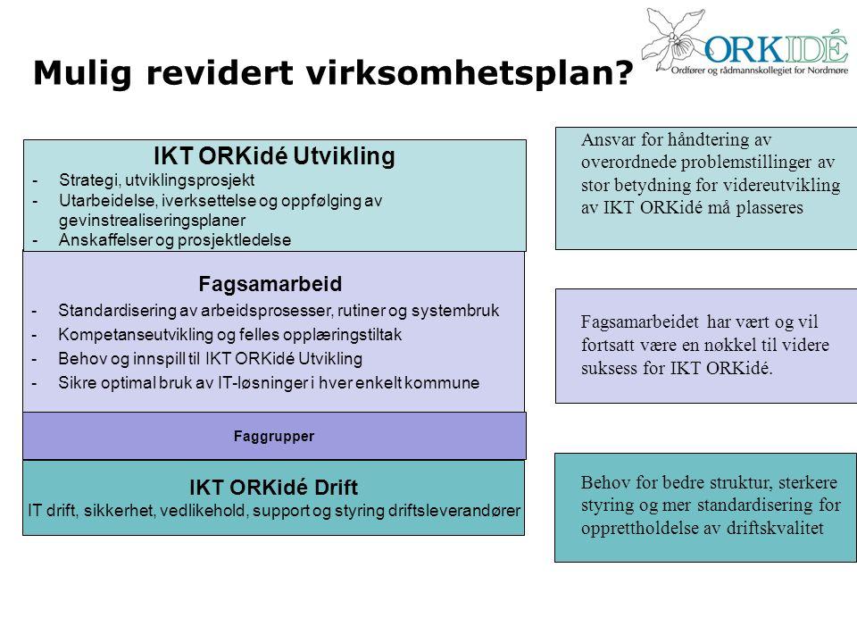 Mulig revidert virksomhetsplan? Fagsamarbeid -Standardisering av arbeidsprosesser, rutiner og systembruk -Kompetanseutvikling og felles opplæringstilt