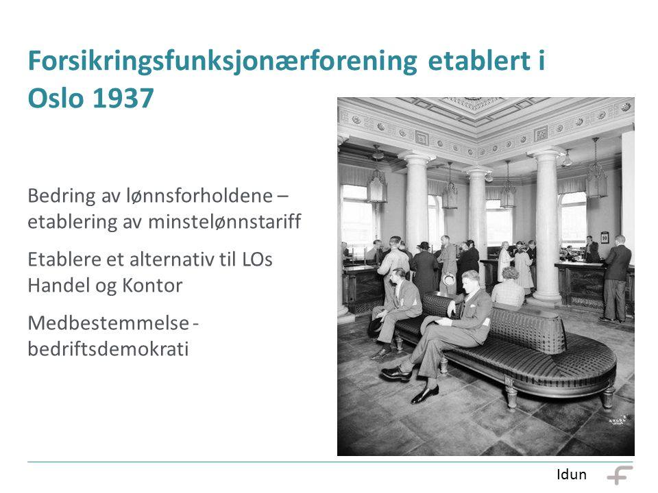Forsikringsfunksjonærforening etablert i Oslo 1937 Bedring av lønnsforholdene – etablering av minstelønnstariff Etablere et alternativ til LOs Handel