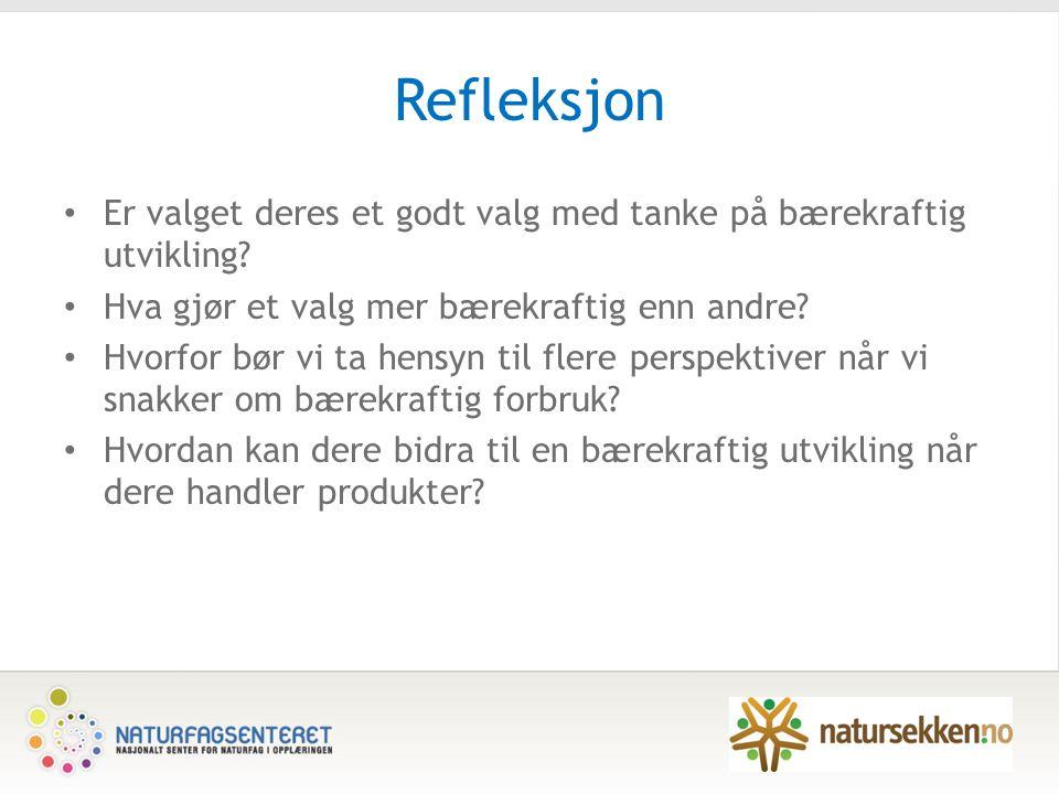 Refleksjon Er valget deres et godt valg med tanke på bærekraftig utvikling.