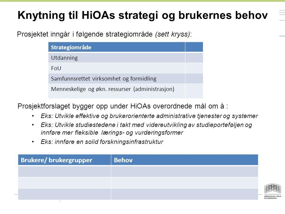 Knytning til HiOAs strategi og brukernes behov Prosjektet inngår i følgende strategiområde (sett kryss): Strategiområde Utdanning FoU Samfunnsrettet virksomhet og formidling Menneskelige og økn.