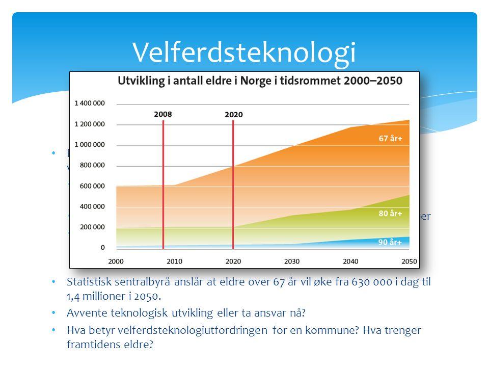 Revidert nasjonalbudsjett gir føringer og ønske om utvikling av velferdsteknologi: Regjeringen foreslår å bruke 100 millioner i 2013 til blant annet velferdsteknologi… Utvikling og innføring av velferdsteknologi og innovasjon: 55 millioner Målet: Velferdsteknologi skal være en integrert del av tjenestene i 2020.