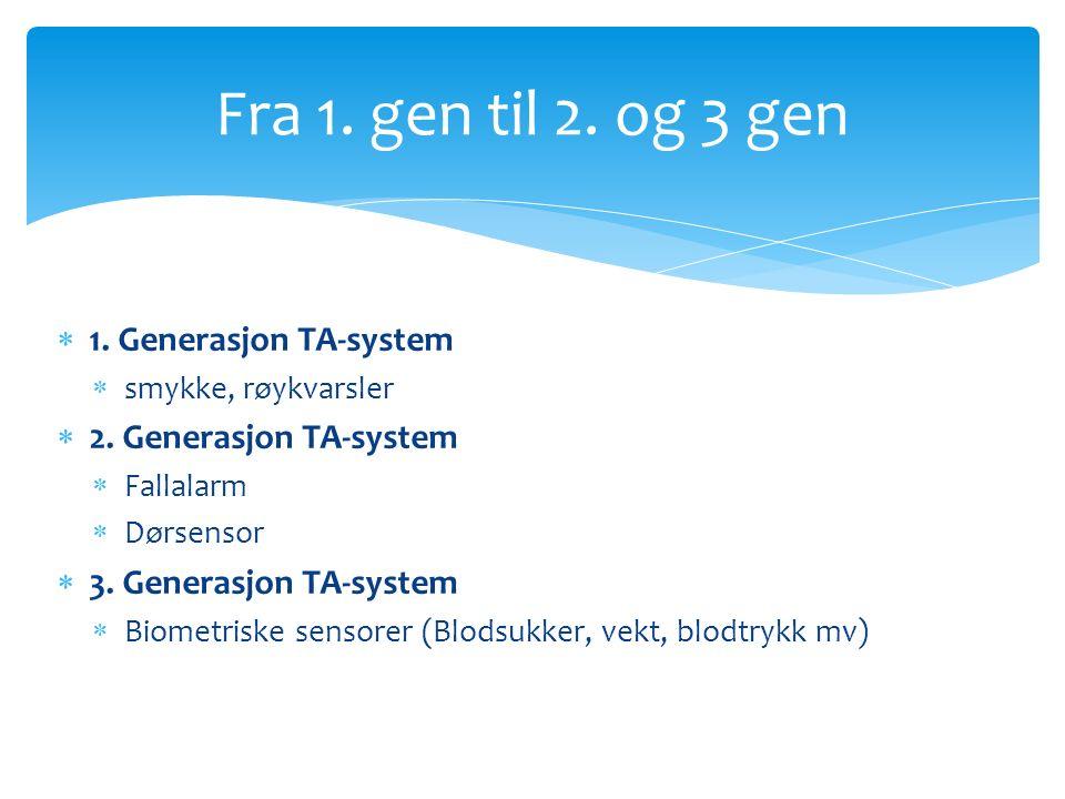  1.Generasjon TA-system  smykke, røykvarsler  2.