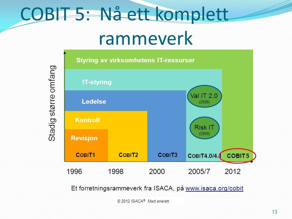 Styring av virksomhetens IT-ressurser COBIT 5 IT-styring C OBI T4.0/4.1 Ledelse C OBI T3 Kontroll C OBI T2 Et forretningsrammeverk fra ISACA, på www.isaca.org/cobit Revisjon C OBI T1 COBIT 5: Nå ett komplett rammeverk for 2005/720001998 Stadig større omfang 1996 2012 Val IT 2.0 (2008) Risk IT (2009) 13 © 2012 ISACA ® Med enerett.