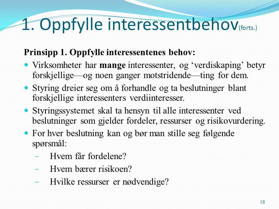 1. Oppfylle interessentbehov (forts.) Prinsipp 1.