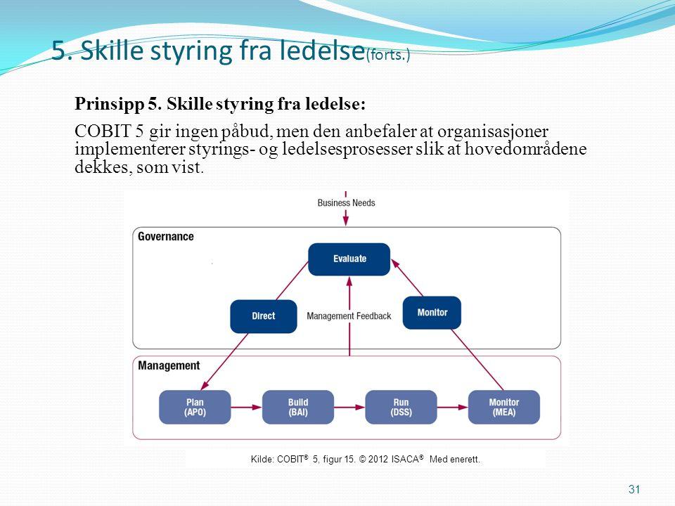 5. Skille styring fra ledelse (forts.) Prinsipp 5.