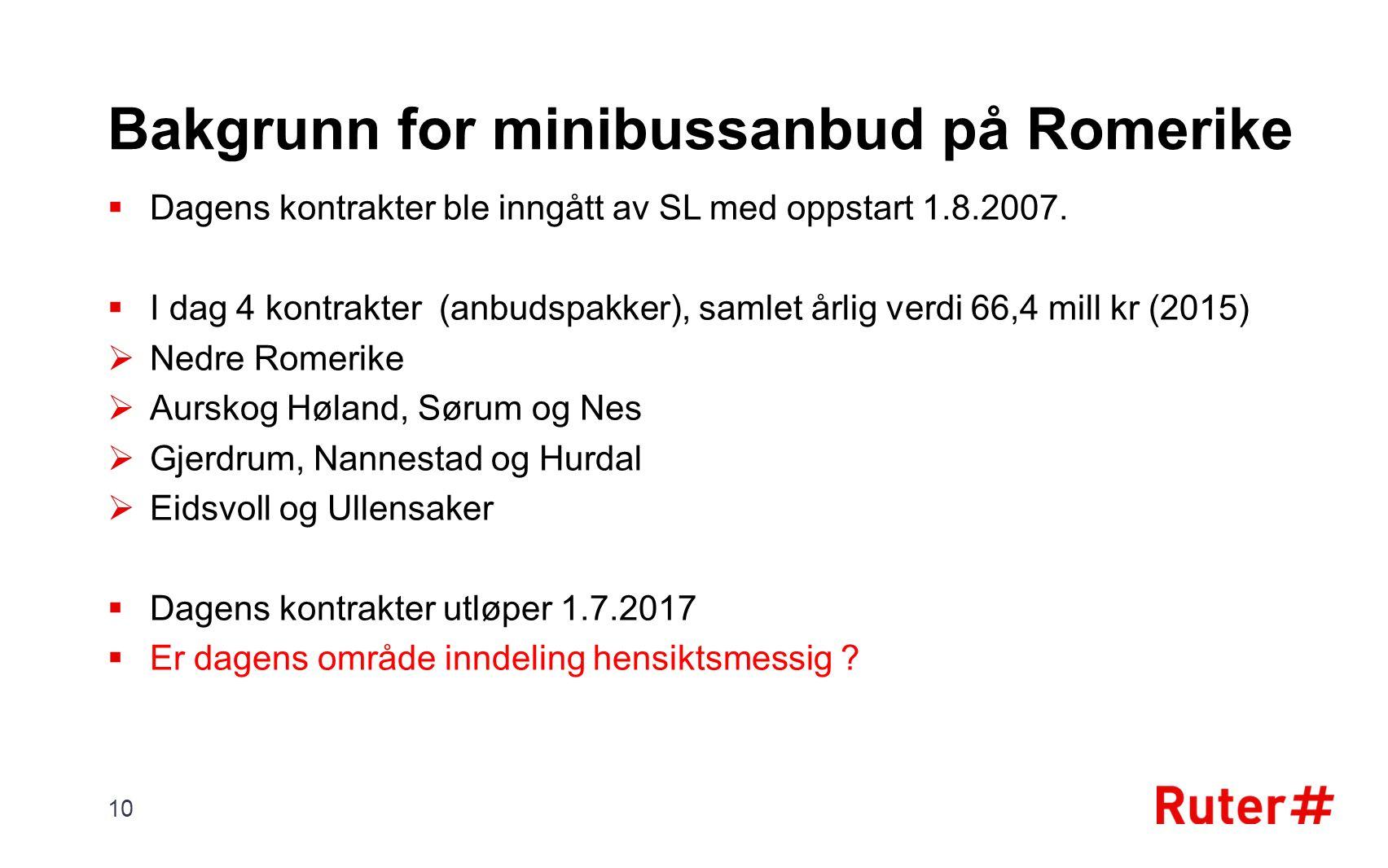 Bakgrunn for minibussanbud på Romerike  Dagens kontrakter ble inngått av SL med oppstart 1.8.2007.