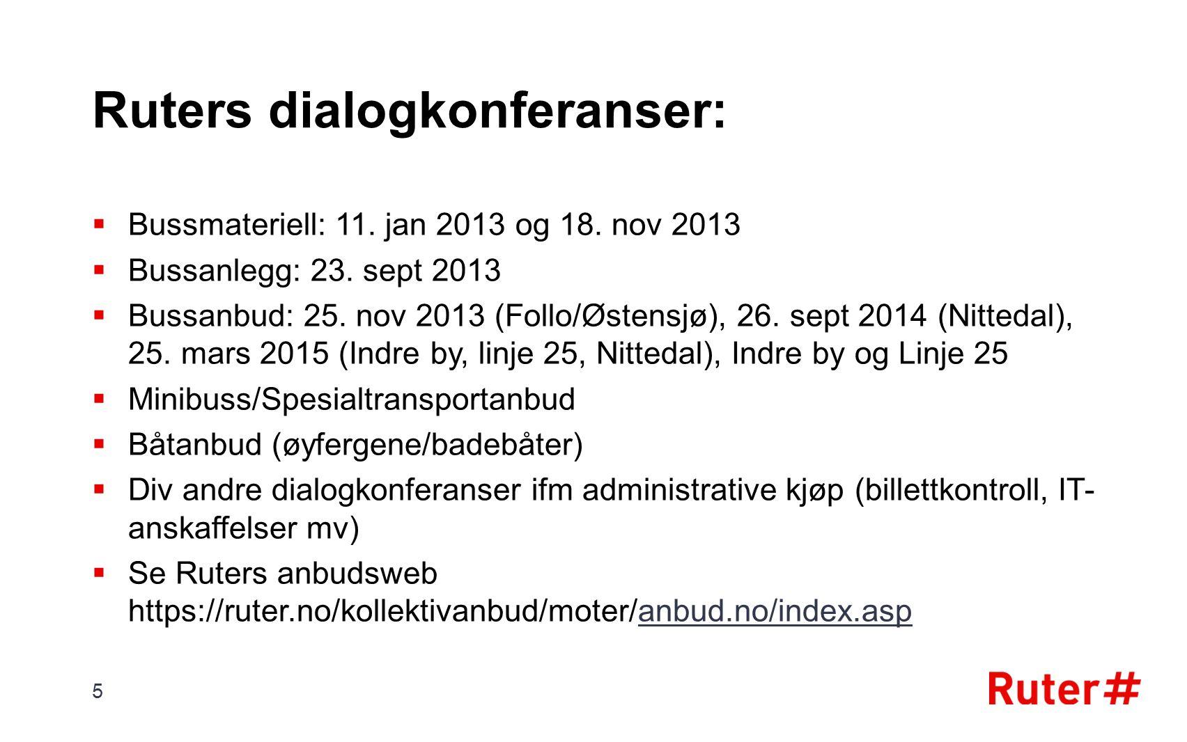 Ruters dialogkonferanser:  Bussmateriell: 11. jan 2013 og 18.