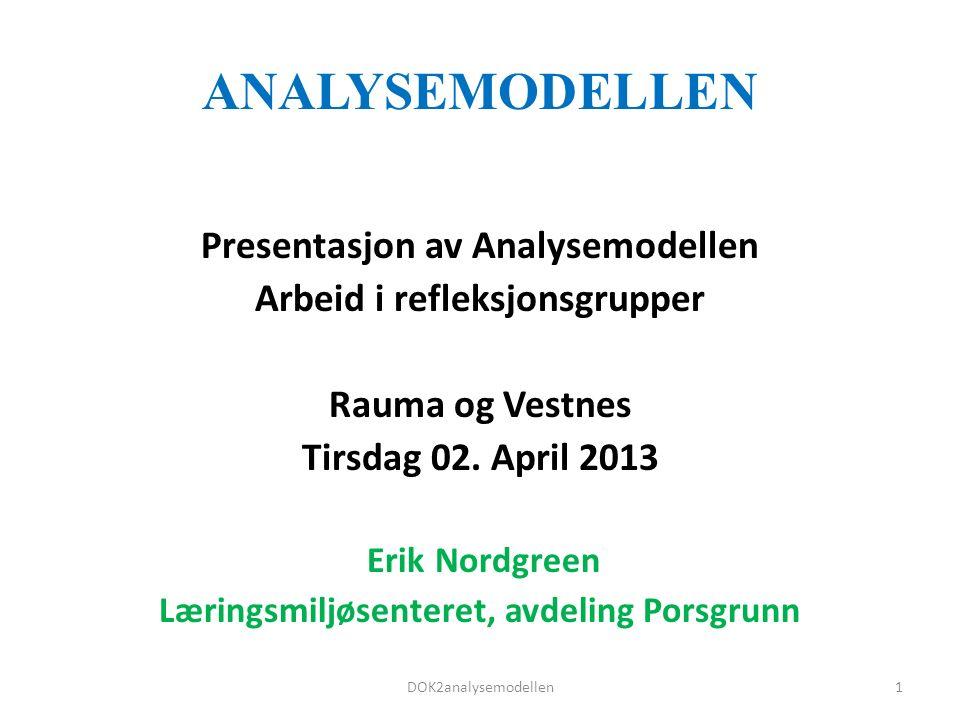 ANALYSEMODELLEN Presentasjon av Analysemodellen Arbeid i refleksjonsgrupper Rauma og Vestnes Tirsdag 02.