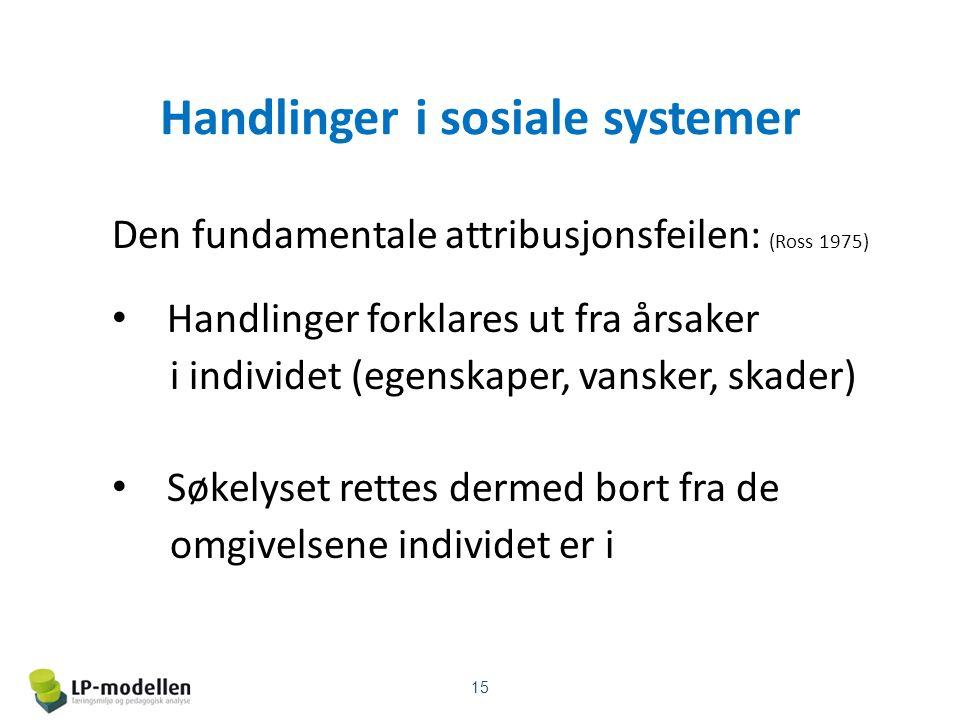 Handlinger i sosiale systemer Den fundamentale attribusjonsfeilen: (Ross 1975) Handlinger forklares ut fra årsaker i individet (egenskaper, vansker, skader) Søkelyset rettes dermed bort fra de omgivelsene individet er i 15