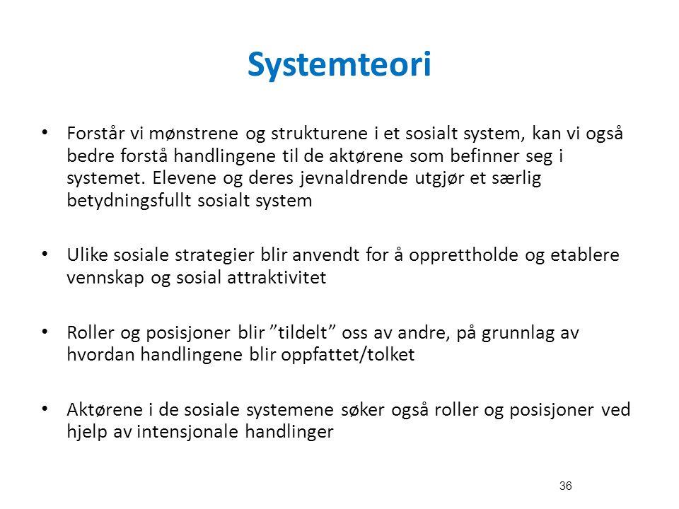 Systemteori Forstår vi mønstrene og strukturene i et sosialt system, kan vi også bedre forstå handlingene til de aktørene som befinner seg i systemet.
