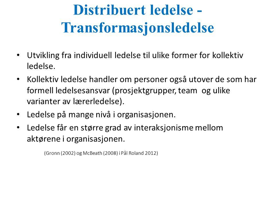 Distribuert ledelse - Transformasjonsledelse Utvikling fra individuell ledelse til ulike former for kollektiv ledelse.