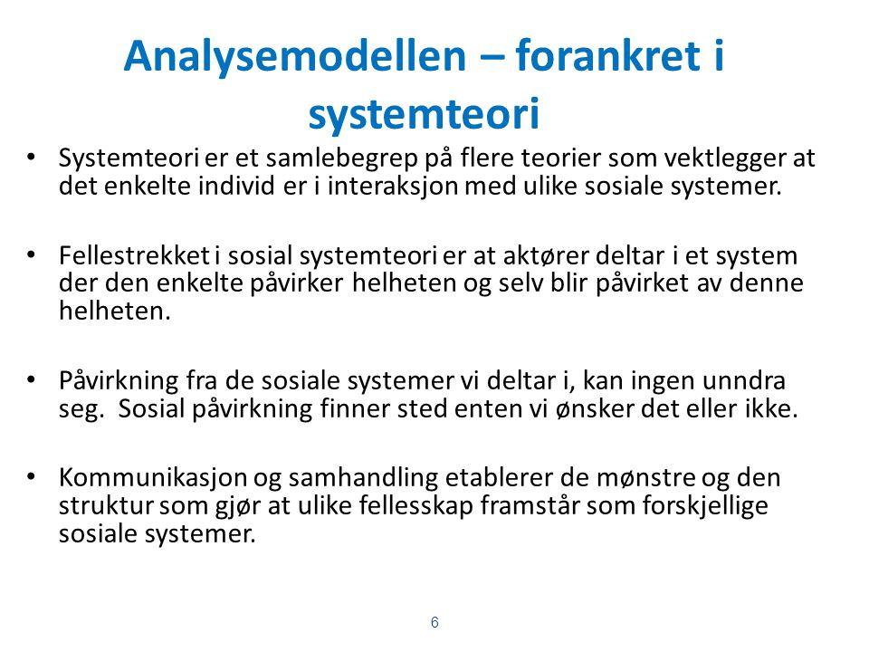 Analysemodellen – forankret i systemteori Systemteori er et samlebegrep på flere teorier som vektlegger at det enkelte individ er i interaksjon med ulike sosiale systemer.