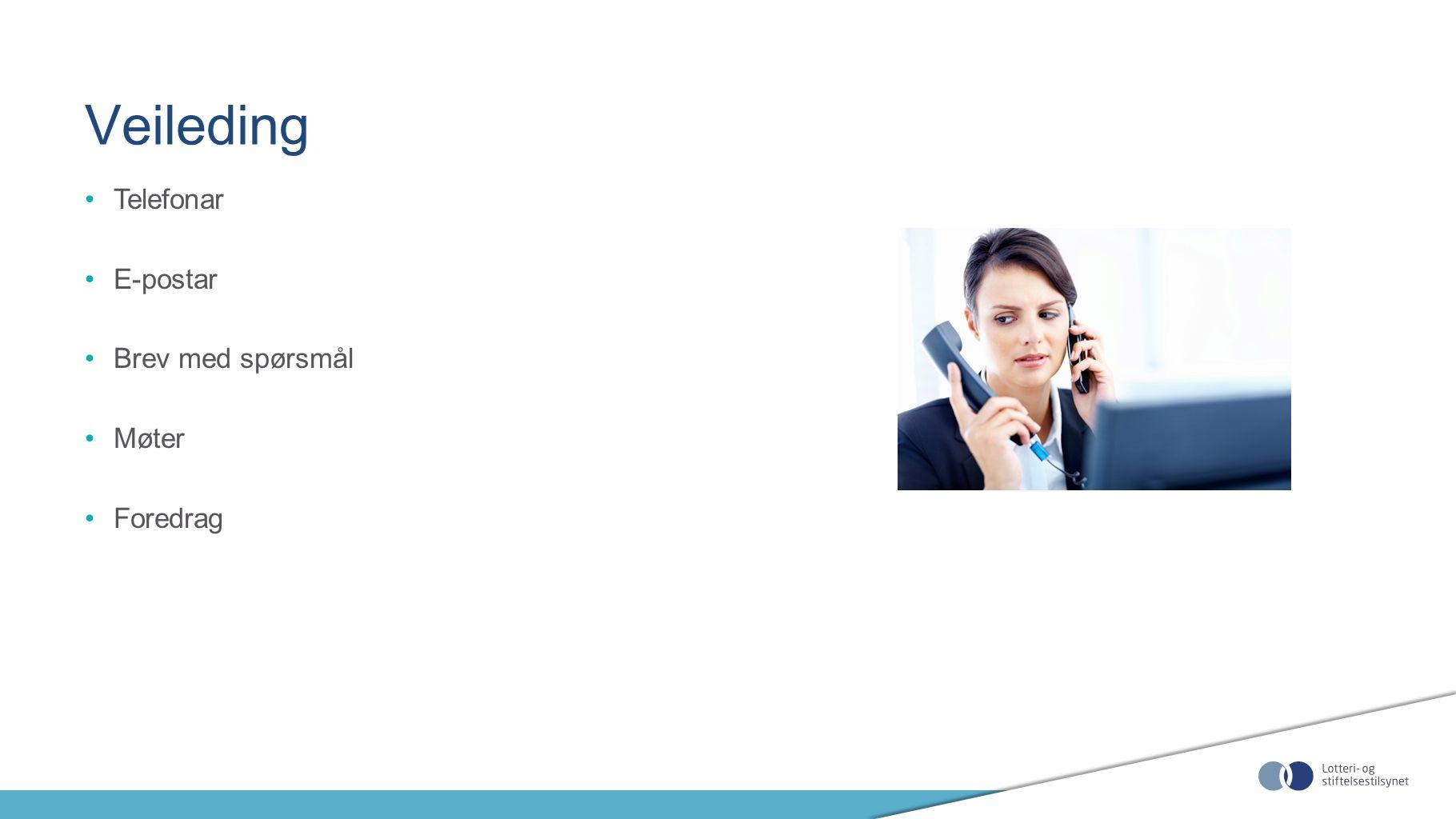 Telefonar E-postar Brev med spørsmål Møter Foredrag Veileding