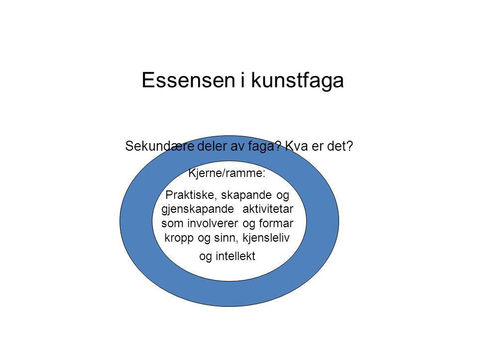Essensen i kunstfaga Kjerne/ramme: Praktiske, skapande og gjenskapande aktivitetar som involverer og formar kropp og sinn, kjensleliv og intellekt Sekundære deler av faga.