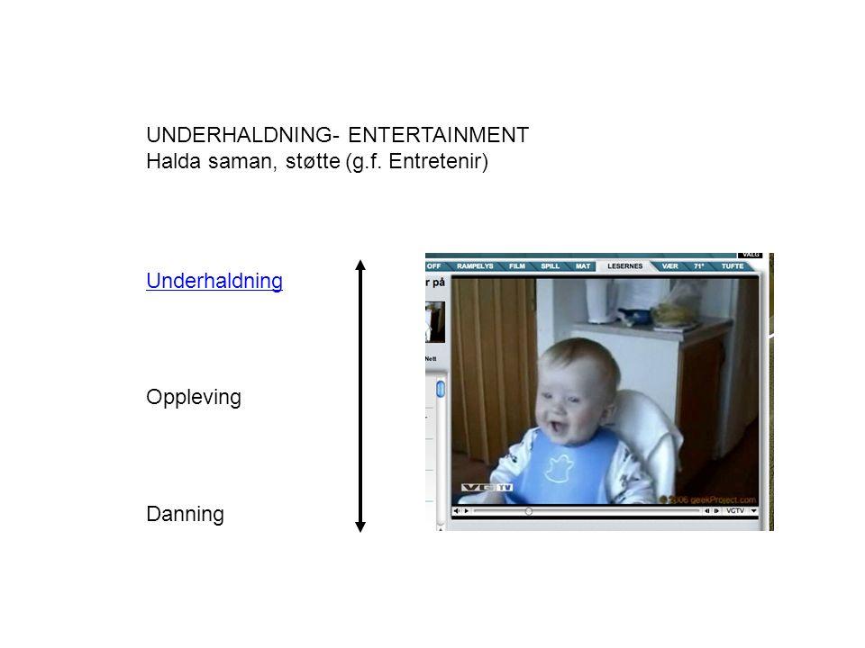 Underhaldning Oppleving Danning UNDERHALDNING- ENTERTAINMENT Halda saman, støtte (g.f. Entretenir)