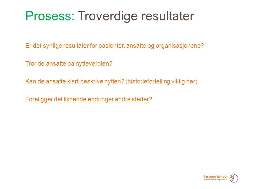 Prosess: Troverdige resultater  Er det synlige resultater for pasienter, ansatte og organisasjonene.