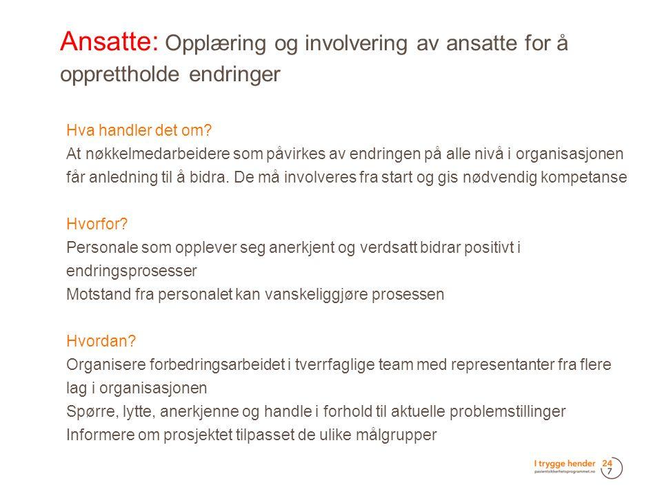 Ansatte: Opplæring og involvering av ansatte for å opprettholde endringer  Hva handler det om.