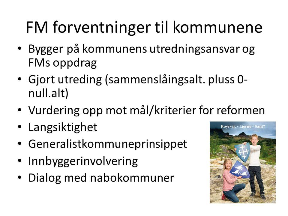 FM forventninger til kommunene Bygger på kommunens utredningsansvar og FMs oppdrag Gjort utreding (sammenslåingsalt.