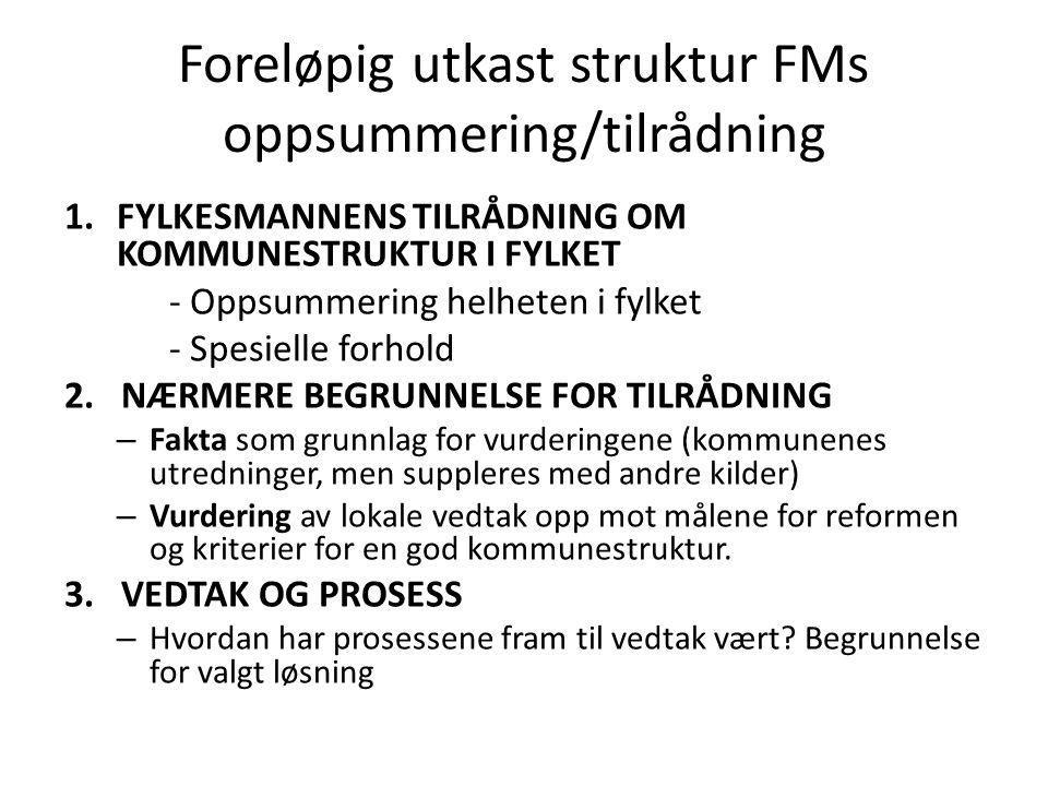 Foreløpig utkast struktur FMs oppsummering/tilrådning 1.FYLKESMANNENS TILRÅDNING OM KOMMUNESTRUKTUR I FYLKET - Oppsummering helheten i fylket - Spesielle forhold 2.