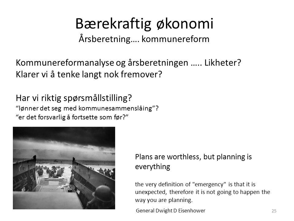 Bærekraftig økonomi Årsberetning…. kommunereform 25 Kommunereformanalyse og årsberetningen …..