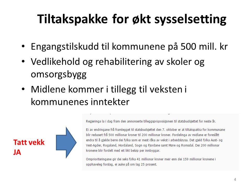 Tiltakspakke for økt sysselsetting Engangstilskudd til kommunene på 500 mill.