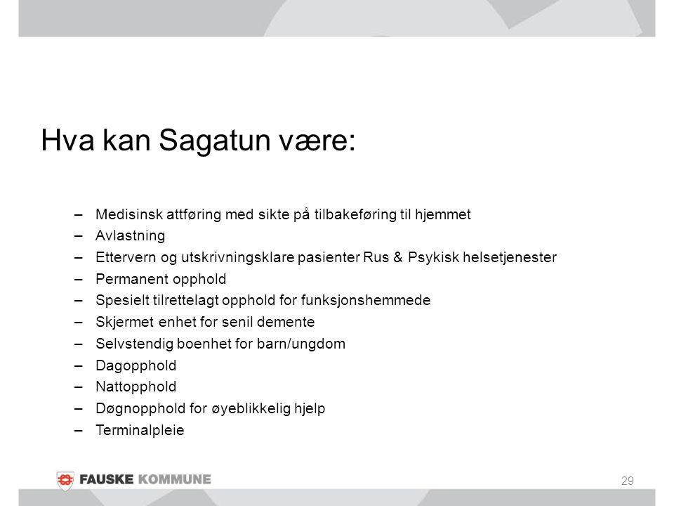 Hva kan Sagatun være: –Medisinsk attføring med sikte på tilbakeføring til hjemmet –Avlastning –Ettervern og utskrivningsklare pasienter Rus & Psykisk