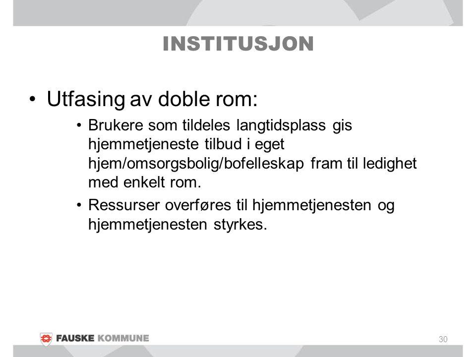 Utfasing av doble rom: Brukere som tildeles langtidsplass gis hjemmetjeneste tilbud i eget hjem/omsorgsbolig/bofelleskap fram til ledighet med enkelt