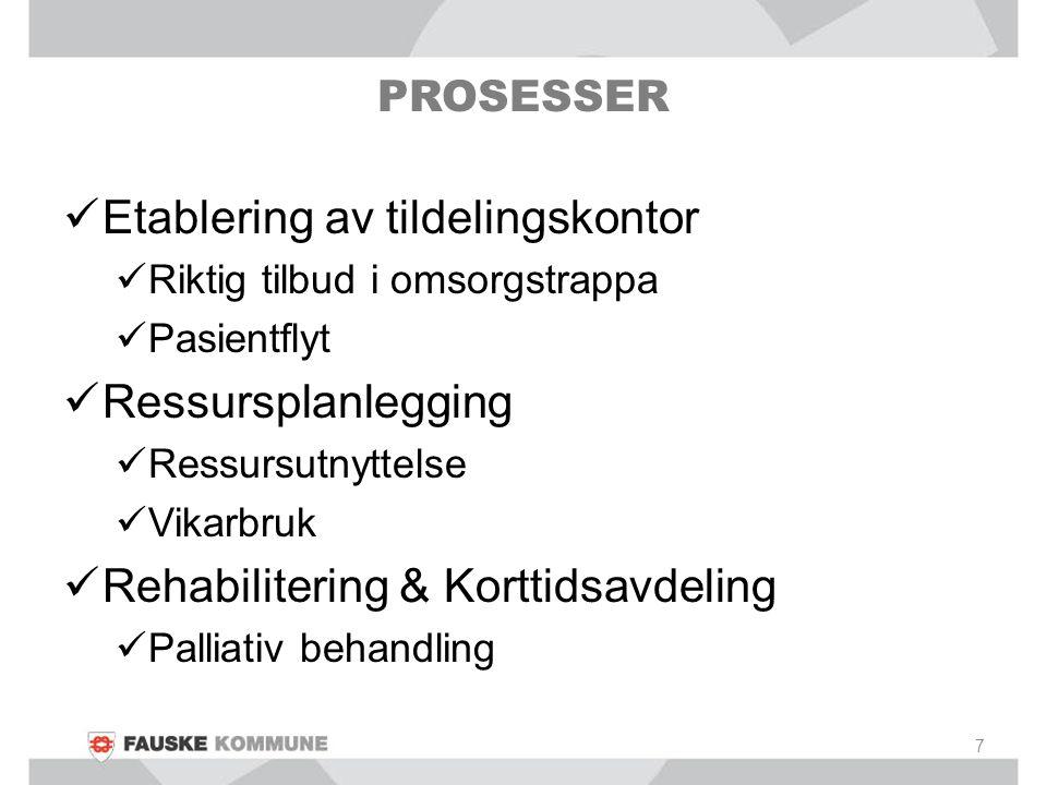PROSESSER Etablering av tildelingskontor Riktig tilbud i omsorgstrappa Pasientflyt Ressursplanlegging Ressursutnyttelse Vikarbruk Rehabilitering & Kor