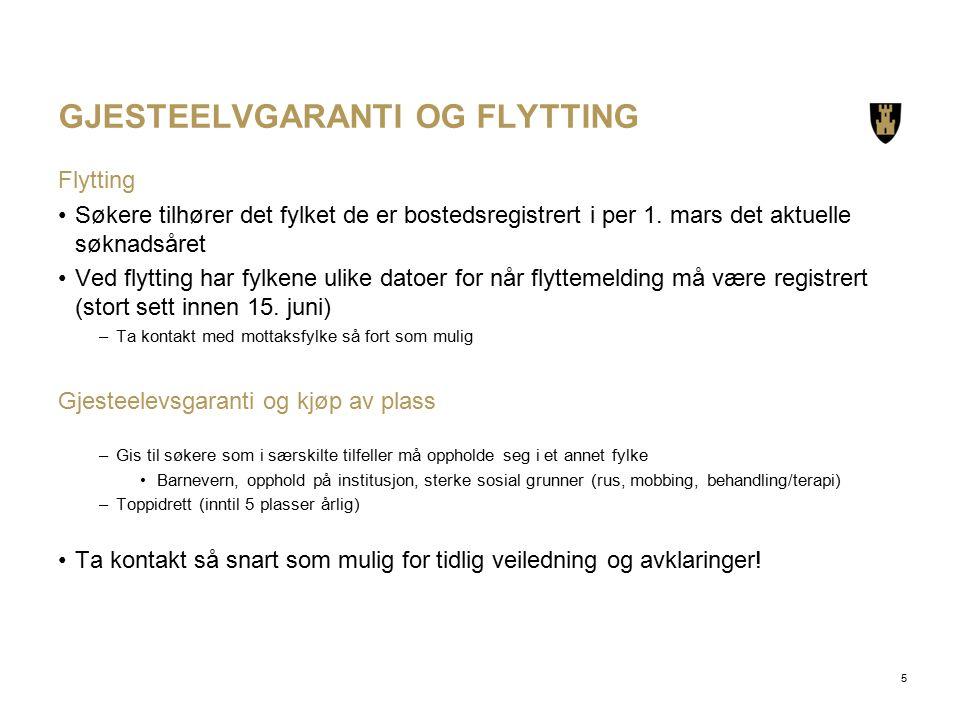 GJESTEELVGARANTI OG FLYTTING Flytting Søkere tilhører det fylket de er bostedsregistrert i per 1.