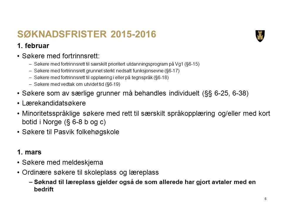 SØKNADSFRISTER 2015-2016 1.