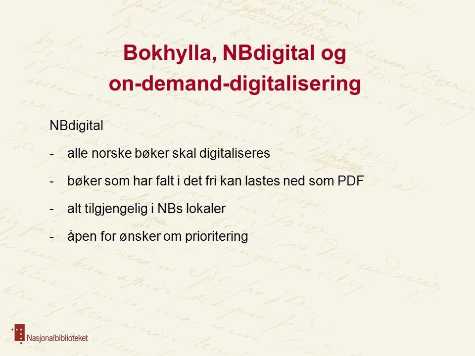 Bokhylla, NBdigital og on-demand-digitalisering NBdigital -alle norske bøker skal digitaliseres -bøker som har falt i det fri kan lastes ned som PDF -alt tilgjengelig i NBs lokaler -åpen for ønsker om prioritering