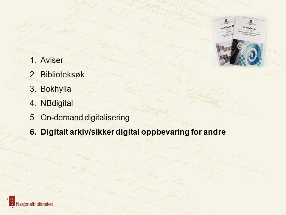 1.Aviser 2.Biblioteksøk 3.Bokhylla 4.NBdigital 5.On-demand digitalisering 6.Digitalt arkiv/sikker digital oppbevaring for andre