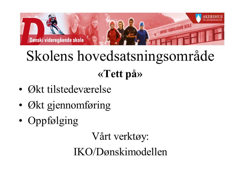 Skolens hovedsatsningsområde «Tett på» Økt tilstedeværelse Økt gjennomføring Oppfølging Vårt verktøy: IKO/Dønskimodellen