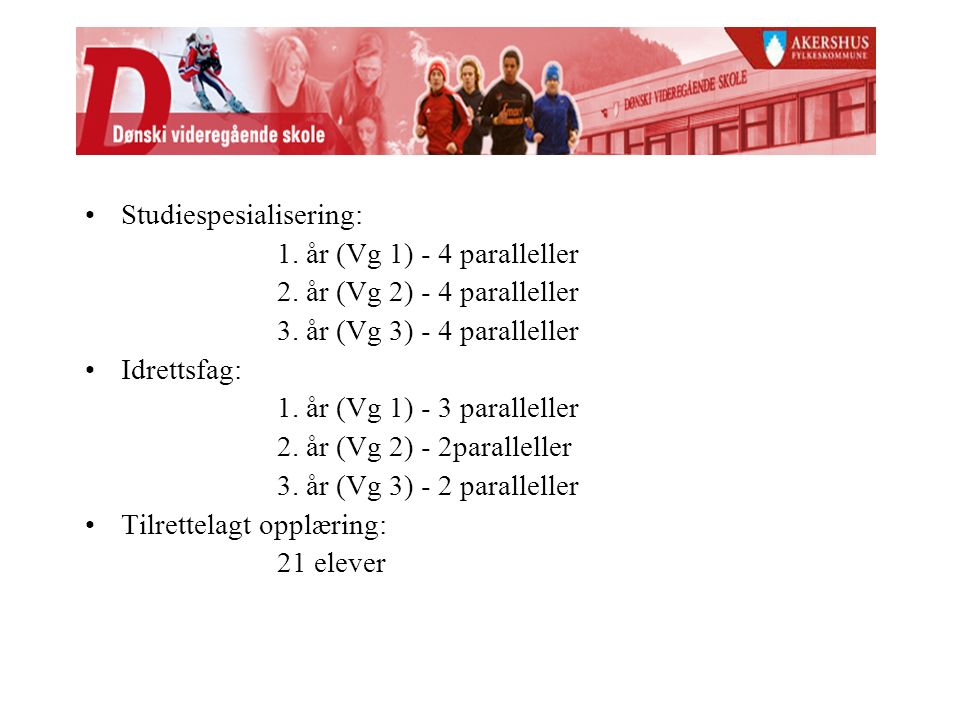 Studiespesialisering: 1.år (Vg 1) - 4 paralleller 2.