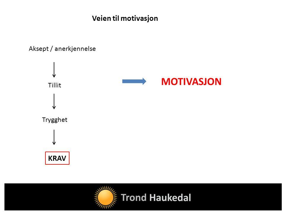 Veien til motivasjon MOTIVASJON KRAV Aksept / anerkjennelse Tillit Trygghet