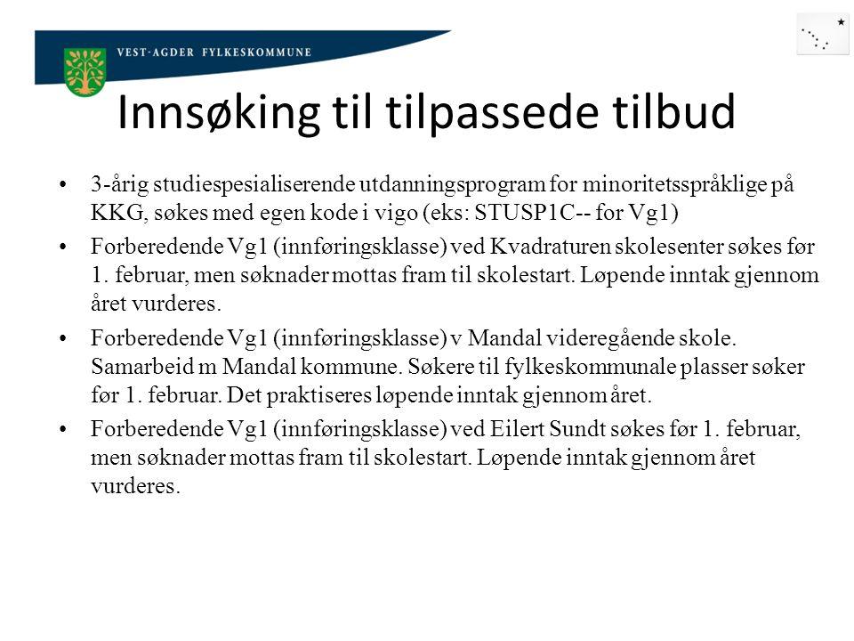 Innsøking til ordinære klasser Søker som har norsk personnummer søker på vigo på vanlig måte.