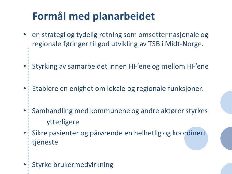 Formål med planarbeidet en strategi og tydelig retning som omsetter nasjonale og regionale føringer til god utvikling av TSB i Midt-Norge. Styrking av