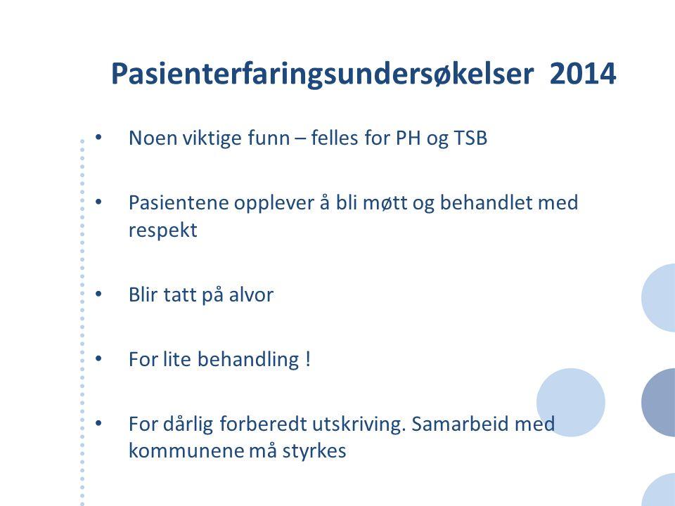Overordnede funn fra fase 1 Innenfor både PH og TSB er det største forbedringspotensialet knyttet til samhandling –både mellom HF-ene, mellom fagområder og med kommunene Generelt er etterspørselen etter tjenester innen hhv PH og TSB stadig økende Kostnadsnivået er i begge fagområdene noe lavere enn landsgjennomsnittet Dekningsraten for døgnplasser er lavere i HMN enn for Norge totalt sett